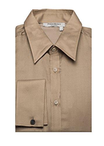 Yves Saint Laurent Men's Cotton Silk Point Collar Dress Shirt - Laurent Clothes Saint Yves