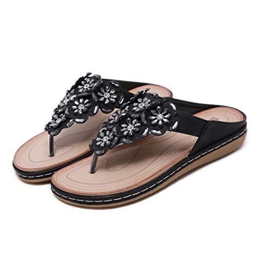 (Aunimeifly Women's Bohemian Flip Flops Flower Rhinestones Slides Soft Comfty Beach Shoes Black)