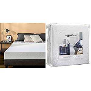 zinus 8 inch gel infused green tea memory foam mattress twin with amazonbasics. Black Bedroom Furniture Sets. Home Design Ideas