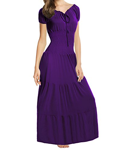 Meaneor Women Boho Cap Sleeve Smocked Waist Tiered Renaissance Summer Maxi Dress Purple S