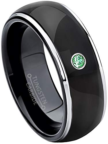 - Jewelry Avalanche 0.07ct Emerald Tungsten Ring - May Birthstone Ring - 8MM Comfort Fit Polished Black Ion Dome Tungsten Carbide Wedding Band -11