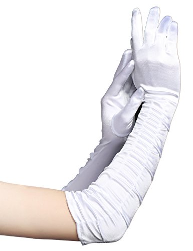 BABEYOND Classic Long Opera Pageant Party 1920s Satin Gloves Stretchy Adult Size Elbow Wrist Length 20.5