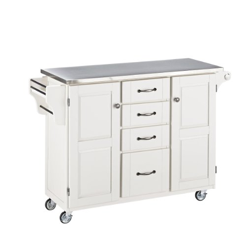 Home Styles 9100-1022 Create-a-Cart 9100 Series Cuisine Cart with Stainless Steel Top, White, 52-1/2-Inch
