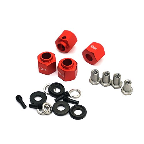 MOHERO Aluminum Alloy 10mm Thick 12mm Hex Wheel Hubs for Traxxas Trx4 1/10 RC Model Crawler Car (Red, 10mm)