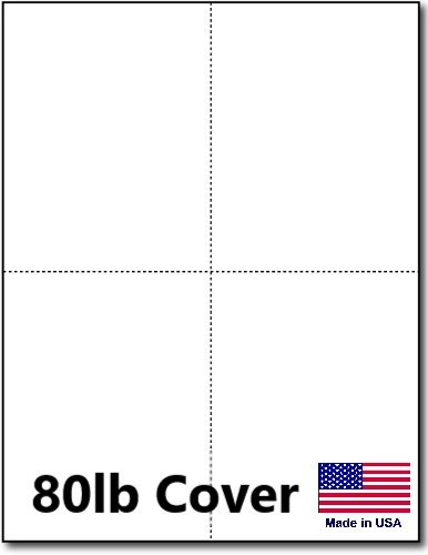 Hamilco White Cardstock Thick Paper - 8 1/2 x 11'' Perforated 4 Up - 4 1/4 x 5 1/2'' Blank Index Flash Note & Post Cards - Greeting Invitations - Heavy weight 80 lb Card Stock for Printer - 100 sheets by Hamilco