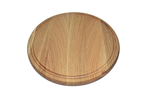 Mr Wooden Cook Pizza Stone, Cutting Board for Kitchen, Cheese Serving Tray, Oak Wood Round Cutting Board, Breakfast Tray, Charger Plate Ø12 inch ()