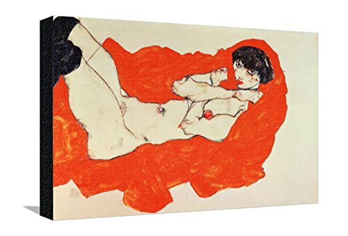 Reclining Female Nude on Red Drape, 1914 Stretched Canvas Print by Egon Schiele - 22 x 14.5 in
