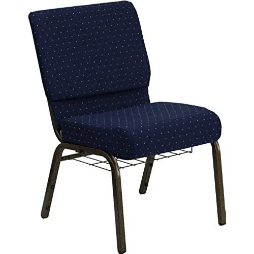 Flash Furniture HERCULES Series 21u0027u0027W Church Chair In Navy Blue Dot  Patterned Fabric With Book Rack   Gold Vein Frame