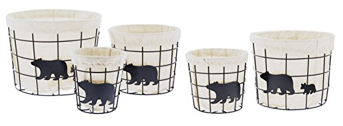Distinctive Designs Set of 5 Assorted Metal Wire Baskets with Liners Black Bear Design ()