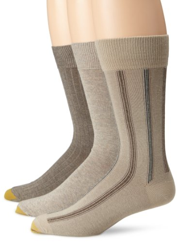 Gold Toe Men's Classic Stripe 3 Pack, Khaki Boardwalk Stripe/Oatmeal Flat/Barley Rib, Sock Size: 10-13/Shoe Size:9-11 (Classic Dress Rib Sock)