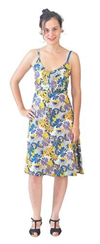 Damas sin mangas vestido de correa con patrón floral multicolor Multicolor