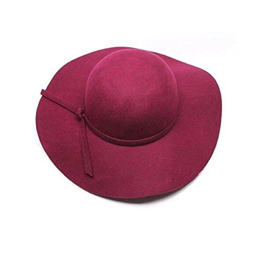 Kingfansion Women Girls Wool Wide Brim Felt Bowler Fedora Hat Lady Floppy Cloche (Burgundy) (Burgundy Felt Bonnet)