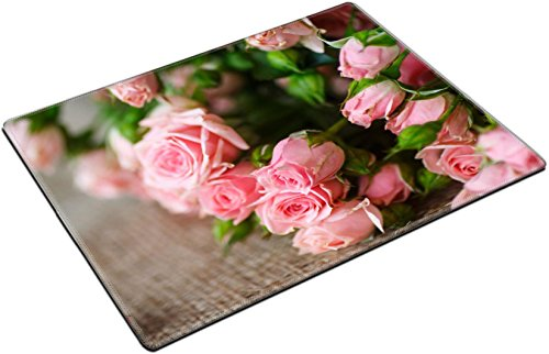 - MSD Place Mat Non-Slip Natural Rubber Desk Pads design 34650796 beautiful bouquet of pink roses on an old table of burlap