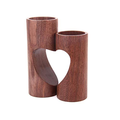 Lxcom Heart Candles Candleholders Wooden Tealight Candle Holders Scented Candles Gift Set Natural Candlescape Set 2 Decorative Candle Holders for Wedding Decor and Home Decor