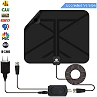TV Antenna Indoor HDTV Digital Antenna 60 to 100 Miles Range with Detachable Amplifier Signal Booster and 16.5 Feet Coaxial Cable For 4K 1080P Free TV --2018 new version