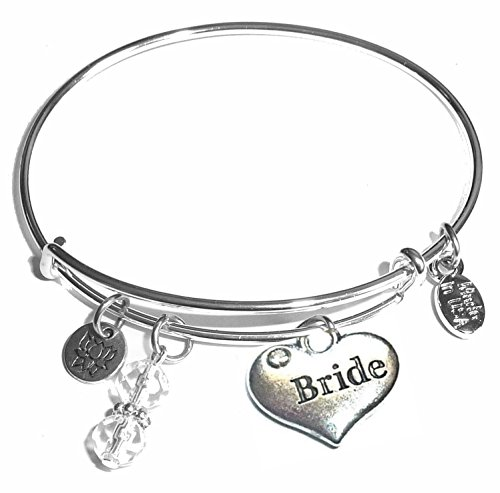 Message Charm (46 words to choose from) Expandable Wire Bangle Bracelet, in the popular style, COMES IN A GIFT BOX! (Bride)]()