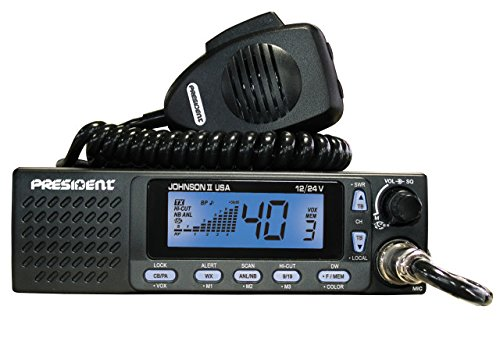 President Electronics Johnson II USA Ham AM Transceiver CB Radio, 40 Channels AM, 12/24V, Up/Down Channel Selector, Volume Adjustment and ON/OFF, Manual Squelch and ASC, Multi-functions LCD Display by President Electronics