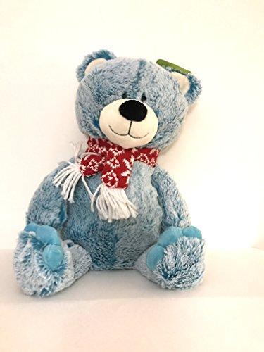 Teddy Bear Plush Stuffed Animal Blue Winter with Red Scarf 17