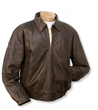 Men's Burk's Bay Distressed Classic Leather Jacket Brown, BROWN, LG