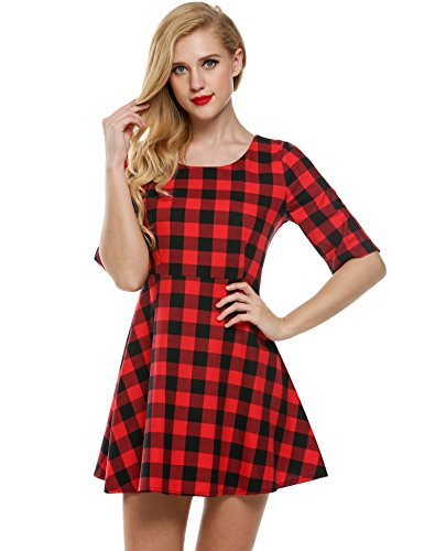 Red And Black Plaid Dress - 6