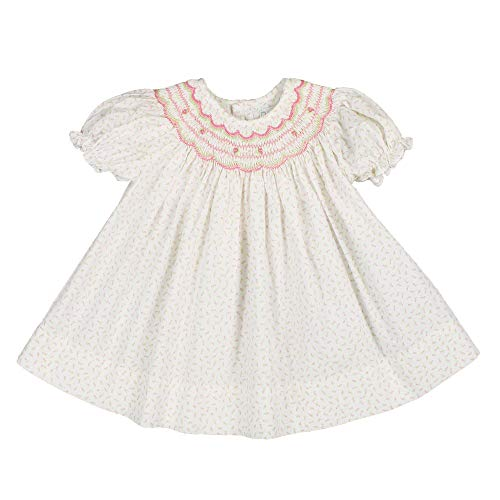 - Petit Ami Baby Girls' Rosebud Floral Smocked Dress with Hat, 3 Months, Pink