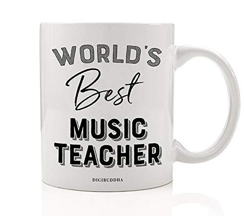 World's Best Music Teacher Coffee Mug Gift Idea Student Thank You Musical Education Tutor Instructor Teaching Band Orchestra Christmas Holiday Birthday Present 11oz Ceramic Tea Cup Digibuddha DM0400