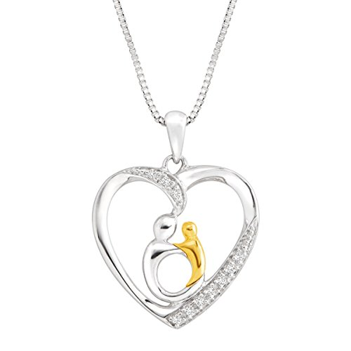 Mother and Child Pendant Necklace with Diamonds in Sterling Silver & 10K Gold ()