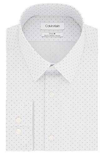 Calvin Klein Men's Dress Shirt Slim Fit Non Iron Stretch Print, Corn Flower, 16.5