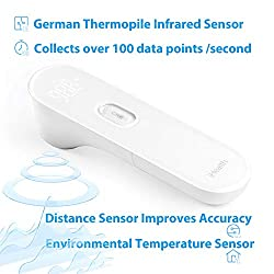 Medical Forehead Thermometer for Kids, Toddlers and Adults by iHealth, Digital Temporal Thermometer for Fever, Instant Accurate Reading and Extra Large LED Display,Thermometer with Upgraded Sensors