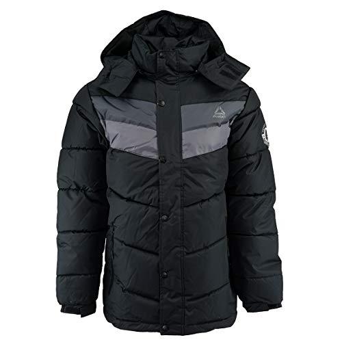 (Reebok Men's Heavy Weight Hooded Bubble Jacket, Black pop L)