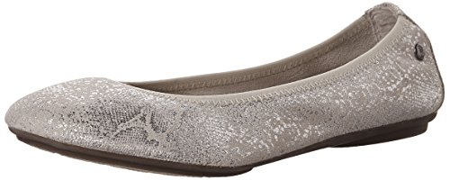 - Hush Puppies Women's Chaste Ballet Flat, Birch Metallic Snake Suede 5.5 M US
