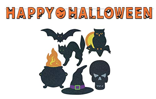 Happy Halloween Glitter Décor Bundle | Includes Streamer and Silhouette Cutouts ()