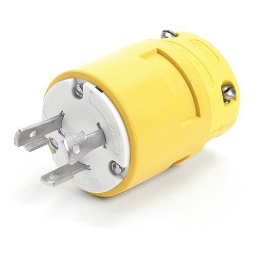 Woodhead 2848 Super-Safeway Plug, Industrial Duty, Locking Blade, 2 Poles, 3 Wires, NEMA L6-30 Configuration, Rubber, Yellow, 30A Current, 250V Voltage