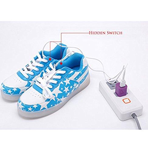[+Pequeña toalla]De carga USB zapatos de los niños chicos que emite luz zapatos zapatos de los zapatos luminosos LED iluminados deportiva c18