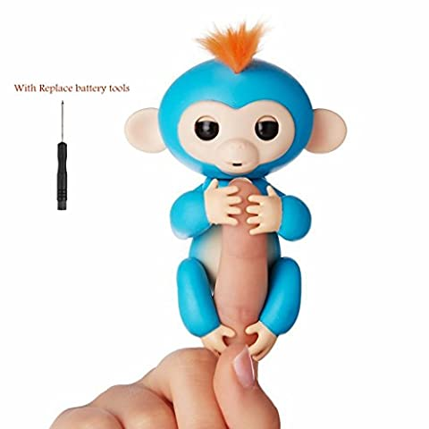 Fingers Monkey Toys, Interactive Baby Monkey Electronic Pet Toy for Children Kids … (Blue) - Monkey Finger Puppet