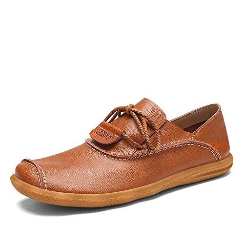 Suave Genuino de Que Mocasines para con Cordones cómodos de Marrón conducen Hombre Cuero Suela Zapatos qEgXg