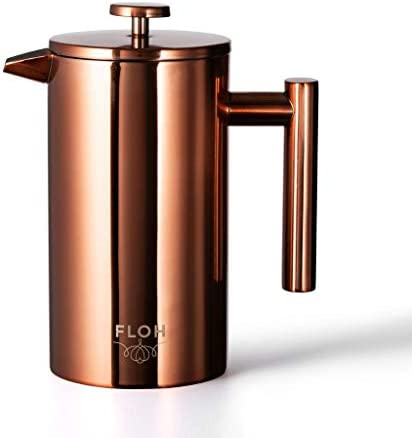 FLOH French Press for Coffee Tea in Rose Gold Copper – Large 4 Cup Insulated Stainless Steel Coffee Maker