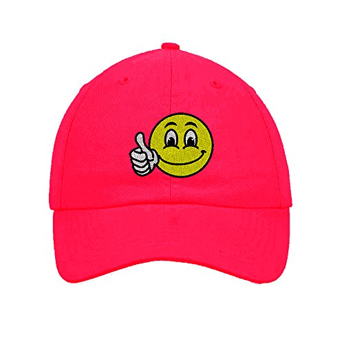 Happy Cap Face (Speedy Pros Cotton 6 Panel Low Profile Hat Emoji Smiley Happy Face Embroidery Hot Pink)
