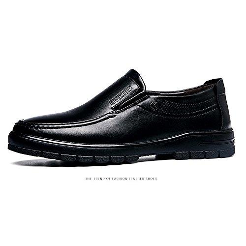 Cuero los Hermosos Zapatos Cómodos Suela de la Planos de Negro los PU Zapatos de la Caballeros Hombres para de los Holgazanes de gqOPwF5pq