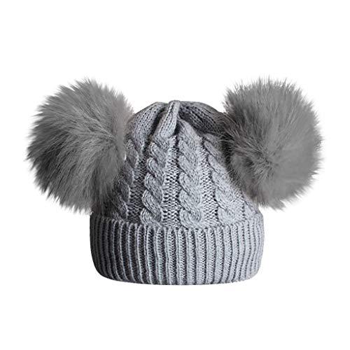 ZEFOTIM Infant Toddler Baby Knitting Woolen Hat,Childrens Knitting Wool Hemming Hat Keep Warm Winter Hiarball Fur Ball Cap(B-Gray) (Black Leather Hat With Fur Ball On Top)