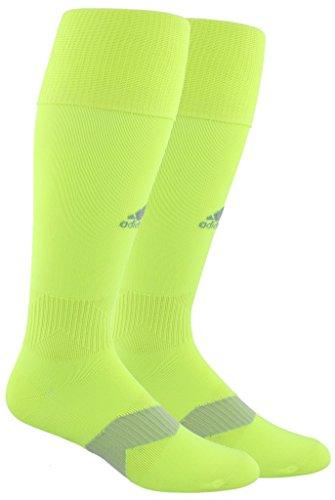 adidas Unisex Metro IV OTC Soccer Sock (1-Pair), Solar Yellow/Light Grey, 9-13