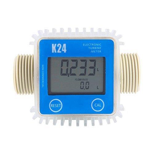 ZJchao Adjustable K24 Turbine Meter LCD Digital Diesel Fuel Flow Meter Anti-corrosion For Diesel Fuel Oil Urea Chemical Liquid Water (Blue)