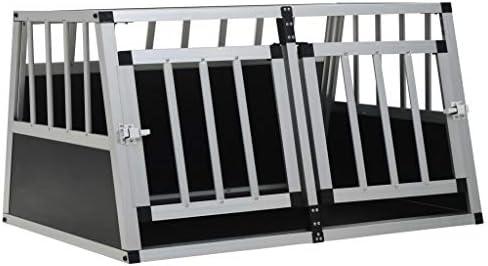 vidaXL Jaula Perros Metálica 2 Puertas Transportín Aluminio ...