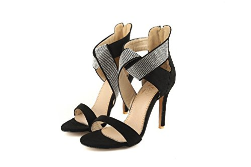 del zapatos de banquete ZHZNVX finos diamantes tacón de Black altos imitación sexy de moda sandalias dedo con tacones Los correas femeninos cruzadas abierto del pie alto qwaOgnUw