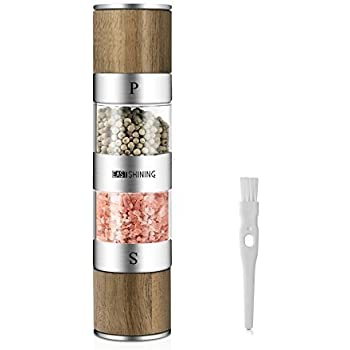 2 in 1 Salt and Pepper Grinder Set,Stainless Steel Salt Grinder with Adjustable Ceramic Rotor,Wooden Salt Mill and Pepper Mill Shaker,Dual Mill Spice Jar ...