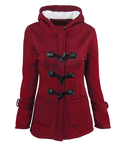 Pea Coat with Hood for Women Cotton Blended Classic Hooded Zip Jacket Burgundy M