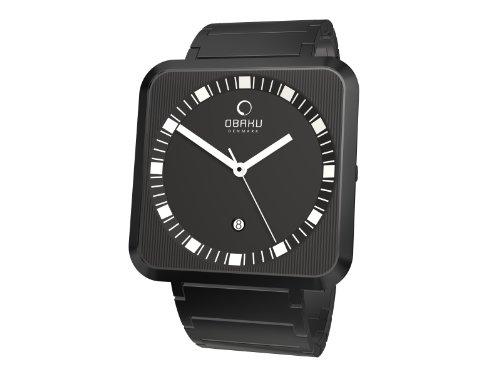 Obaku V139GBBSB Mens Harmony Rectangle in Black Bracelet Watch