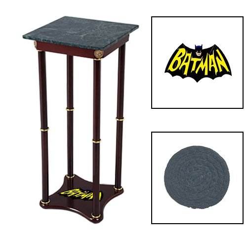 Square Green Marble Bottom Accent Table Featuring the Choice of Your Favorite Superhero Themed Logo on the Bottom Shelf! FREE Coaster Included! (Batman Retro)