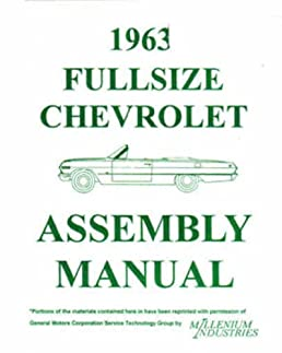 1963 chevy wiring diagram manual reprint impala ss bel air biscayne  1963 chevrolet full size car factory assembly instruction manual rh amazon com