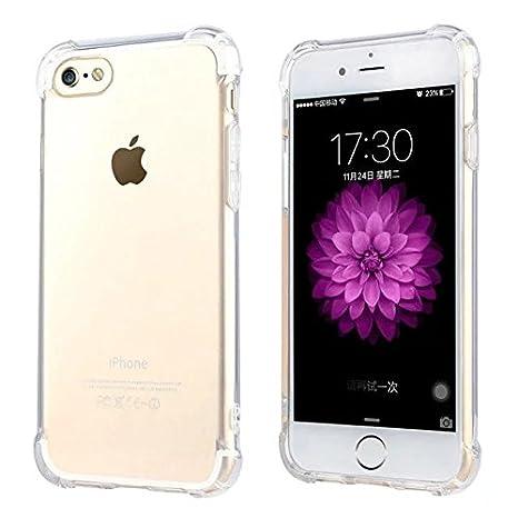funda iphone 6/6S Transparente [Refuerzos Laterales] [Liquid Crystal] [Silicona TPU Flexible] [Transparente] [Protección Grosor Fino]